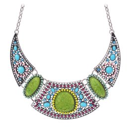 Wholesale-Ethnic Silver Plated Beads Colar Hollow Charms Pendant Chunky Statement Link Chain Choker Necklaces Vintage Bijoux for Women