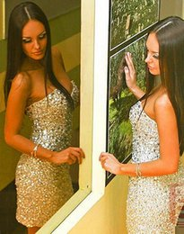 Amzing Crystal Short Cocktail Dresses Sweetheart Custom Made Vestido de Festa high Quality Sheath Sexy Party Girl Prom Gowns 2015