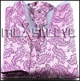 Promotion boutons de manchette de smoking Gros-Mens Suit Tuxedo Dress Vest (veste + ascot + boutons de manchette + mouchoir)