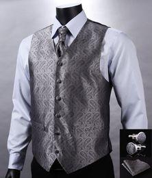 2017 boutons de manchette de smoking Automne-VE01 Gris Argent Paisley Top Design Mariage Hommes 100% soie Gilet Vest Pocket Boutons de manchette Carré Cravat Set pour Suit Tuxedo boutons de manchette de smoking promotion