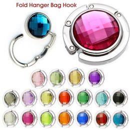Wholesale 18 Colors Crystal Alloy Purse Bag Handbag Hanger Folding Colorful Portable Hook Holder Hot