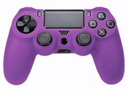 Promotion contrôleur ps4 couvercle du boîtier Gros-Grip pour la peau contrôleur de PS4 couleur pourpre silicone souple Housse de protection pour Case caoutchouc PS4 contrôleur pourpre mod couleur