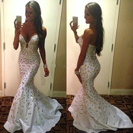 2015 Hot Sexy Satin Mermaid Evening Dresses with Rhinestones Sweetheart Crystal Prom Dresses Pageant Gowns Sweep Train Red Carpet Gowns