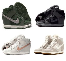 Wholesale Nike Women s Dunk Sky High Top Fashion Hidden Wedge Heel Sneaker Casual Lace Up Shoes Ankle Boots