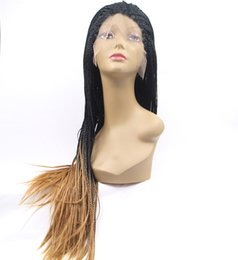 hot sales black to brown 2T ombre braid synthetic lace front wigs heat resistant fiber hair wig for women