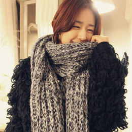 Korea thick warm winter jacket oversized fluffy mohair wool scarf knitted wool scarves for men and women couple models