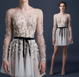 Paolo Sebastian Short Party Dresses Beading Sequined Appliques Flowers Ruched Prom Dresses 2015 Long Sleeve Sheer Sexy Dresses Party Evening