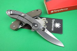 Wholesale Spyderco CT CT156 Brad Southard Flipper folder Knives CTS P Carpenter Steel Blade titanium Carbon Fiber Handle folding knife