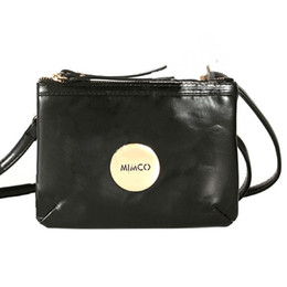 Wholesale MIMCO BAGS BLACK PATENT LEATHER WOMEN BAG ROSE GOLD TURNLOCK ZIP TOP FASHION HANDBAG