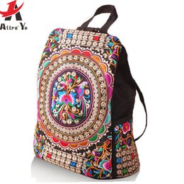 Wholesale-Attra-Y ! National canvas Ethnic backpack handmade flower Embroidered Bag Travel Bags school bag backpacks  etnica LS5523