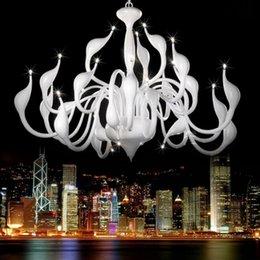 Wholesale-FedEx Free shipping 18 light swan white chandelier led light, Chrome plated swan light(silve,red,white ,black)