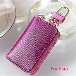 Wholesale Fashion Knurling Cow Leather Car Key Wallet Coin Case Keychain Holder Cover Case
