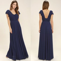 2018 Hot Dark Navy Pleats Chiffon Long Bridesmaid Dresses A Line Cap Sleeves Backless Long Maid of Honor Gowns Prom Evening Dress