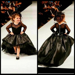 2020 Ball Gown Flower Girl Dresses With Long Sleeve Pearls Jewel Little Girls Party Dress Pageant Gowns Black Satin High Low
