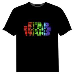 Compra On-line Camisas novas do partido-2016 Primavera Star Wars Homens LED T-Shirt luz som controlo mulheres luzes Tops manga curta desgaste partido desgaste bar roupas EL T piscando Novo