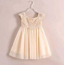 Fedex UPS Free Ship noble Princess dress summer children lace Crochet tulle tutu dress girls beige party dress brand children clothing 3-10T