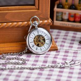 Wholesale Chain White Silver Case Fashion Vine Antique Pocket Watch Mechanical Analog Display Pendant Watch Clock Wholesales Hot Sales