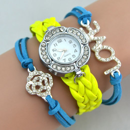 Wholesale Infinity Watches Infinity Bracelet Watches Wrap Watches Diamonds Love Flower Leather Wrist Watches Women Quartz Watches Drop