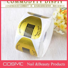 Wholesale-500 Nail forms Acrylic Gel tip guide sticker for nail extension tips guides form Gold Nail tool