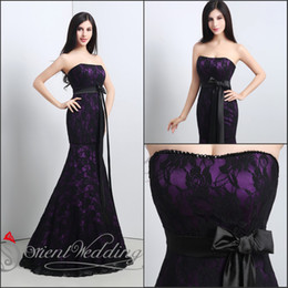 Wholesale 100 Actual Image Applique Lace Prom Dresses In Stock Sweep Train Sequins Strapless Evening Dress Lace Up Back With Self Tie Belt
