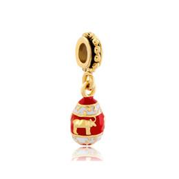 Shenzhen factory enameled Faberge egg pendant dangle metal slide bead European spacer charm fit Pandora Chamilia Biagi charm bracelet