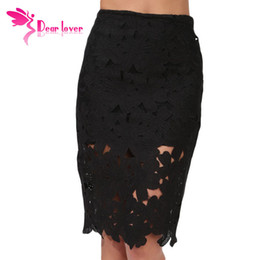 dear lover saias femininas 2015 Skirts Women Cheap white black vintage Crochet Pencil Midi Skirt Female Clothing Vestido LC71066