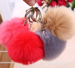 Wholesale Fashion Cute multicolor cm Soft Faux Rabbit Fur Ball Silver Metal Key rings Keychain For Car Bag Key Chains Pendant Accessories Free