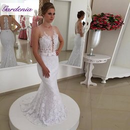 Full Lace Mermaid Evening Dresses Sheer Neck with Beaded Ribbon Low Zipper White Formal Evening Prom Gown 2018 Arabic Dubai Custom Made