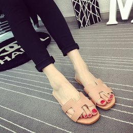 Wholesale H shaped open toed sandals cover the feet flat sandals slippers shoes