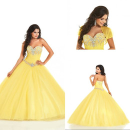 Wholesale - 2015 Sexy Sweetheart Beaded Crystal Yellow Organza Sweet 16 Quinceanera Dresses Crystal Ball Gown Party Prom Gowns