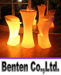 Wholesale 1pcs LED Bar Table LED Chairs Plastic Luminous Furniture High Whiskey Cocktail Drinking Table For Dining Room Garden Club Party Desk
