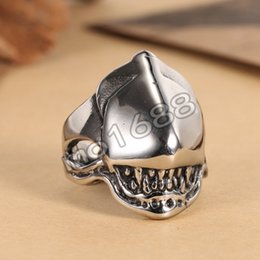 Silver Punk Cool Mask Pendant Jewelry 316L Stainless Steel Ring Size 7-13