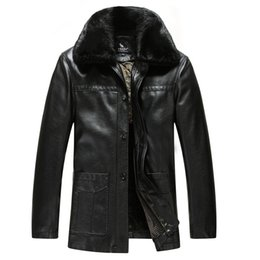 Wholesale Fall News Mens Leather Jackets And Coats Fashion Fur Collar Thicken Fleece Velvet Jacket Leather Pilot Jacket Fur Overcoat