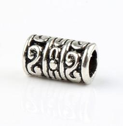Promotion des tubes métalliques creux 100pcs / lot Antique Argent Hollow Dots Flower Tube Métal Grands Perles De Trou Fit Bracelets Européens Bijoux DIY L1405