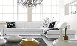 Wholesale Small L Shaped simple white cattle leather modern sofa best home furniture LC9108