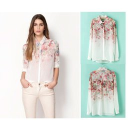 2014 Summer New European style with fashion floral printed chiffon long-sleeved shirt blusas Blouses & Shirts