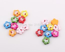 Wholesale Random Mixed Color Cute Lovely Hello Kitty Cat Wood Beads Wooden Patch Cover For Children Gift DIY JJAL BE345