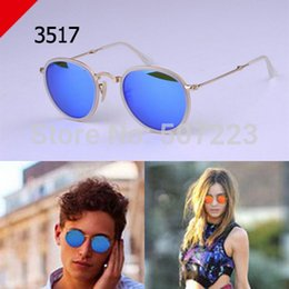 Wholesale Freeshipping New Arrival Ca Mirror Metal Frame Folding Round Sunglasses Men Women Uniex Brand Designer Glasses