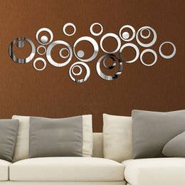 Wholesale New Happy mirror Ring Real Modern Acrylic Mirror D Wall Stickers Promotion Home Decoration Backg round Decor