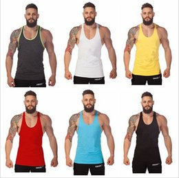 Wholesale Men Blank Stringer Y Back Cotton Tank Top Gym Bodybuilding Clothings Fitness Shirt Sports Vests Muscle Tops