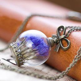 Wholesale real natural air dried flowers necklace Glass Dome Pendant necklace antique Bronze chain Necklace Lavender Flower for women cm