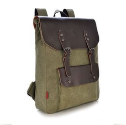 Mens Vintage Canvas Leather Travel Camping Backpack Satchel Shoulder School Bag