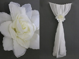Wholesale White Chair Sash for Weddings with Big D Flowers Chiffon Delicate Wedding Decorations Chair Covers Wedding Accessories