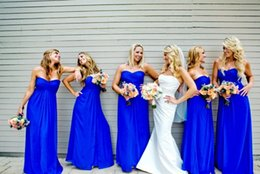 Wholesale Strapless Ivory Evening Gowns - 2017 Cheap long party dresses royal blue bridesmaid dresses sexy strapless simple A line chiffon floor length bridesmaids evening gowns