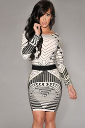 Autumn Winter Sexy Women Backless Tribal Print Long Sleeve Vintage Bodycon Dress LC21723 vestidos saias curtas femininas