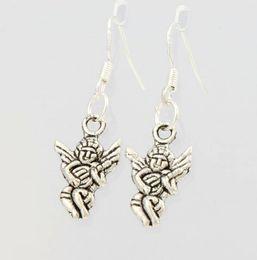 Wholesale 2016 HOT x10 mm Antique Silver Baby Angel Earrings Silver Fish Ear Hook Chandelier E141