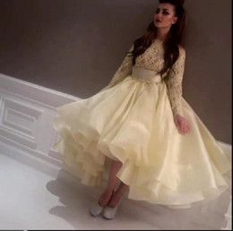 Latest Top Celebrity Dresses Myriam FaresLight Yellow Evening Dress Prom Dress Crew Neck Lace Beaded Long Sleeve Teal Length Party Gowns