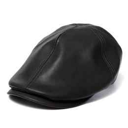 Wholesale-Men's Leather Ivy gentleman Cap Bonnet Newsboy Beret Cabbie Gatsby Flat Golf Hat