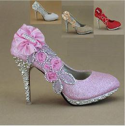Wholesale Best Sparkling Flowers Diamond Wedding Women s Dress Shoes Pink Gold Bride Bridesmaid CM High Heels Party Prom Shoes