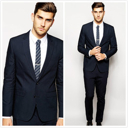 Two Pieces Navy Slim Fit Tuxedo Suits Two Buttons Morning Wedding Mens Suits Custom Made Groom Suit Formal Prom Suits ( Jacket+Pants)